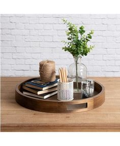 Bay Isle Home Mikayla Large Round Wood Ottoman/Coffee Table Tray Color: Natural Rustic Tray Styling, Coffee Table Styling, Decorating Coffee Tables, Coffee Table Tray Decor, Dining Table, Coffee Table Decorations, Coffee Table Decor Living Room, Candle Tray, Round Wood Tray