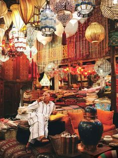 MOROCCO-I would love to explore a souq (also known as open-air marketplace) and see the variety of Moroccan lanterns. What a lovely way to light up your life with the exotic colours of Morocco through a beautifully made lantern? Souk Marrakech, Marrakech Travel, Cabin In The Woods, Moroccan Lanterns, We Are The World, Moroccan Style, Moroccan Party, Arabian Nights, North Africa