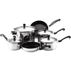 Farberware Classic Series Stainless Steel Tonals Nonstick 10-Piece Cookware Set, Silver/Gray -- Continue to the product at the image link.