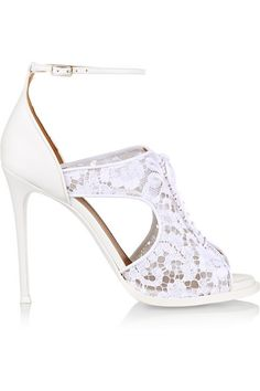 Romantic and understated, Givenchy's white sandals will complement ultra feminine looks. Made in Italy from leather and lace, this platform design has alluring side cutouts, a lace-up front and a slightly cushioned leather footbed for added comfort. Wear them with your favorite LBD for a night out. Get the look at NET-A-PORTER