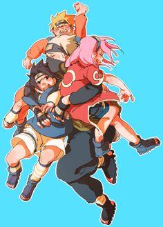 The senseis just want to carry their students! Team 7 Naruto, Sasuke , Sakura and Kakashi-sensei Anime Naruto, Naruto Shippuden, Naruto And Sasuke, Susanoo Kakashi, Naruto E Boruto, Kakashi Sensei, Naruto Sasuke Sakura, Naruto Cute, Sakura Haruno