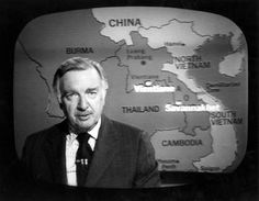 WALTER CRONKITE, with map of S.E. Asia in background.  The Vietnam War (and this image) dominated the nightly news throughout my entire childhood, to the point where I just assumed that the war was permanent...and that it was normal to, at age 10, 12, 15 have a war going on that started before you were born and would go on for the rest of your life.  To people my age, It wasn't just a war - it was a fixture of life.