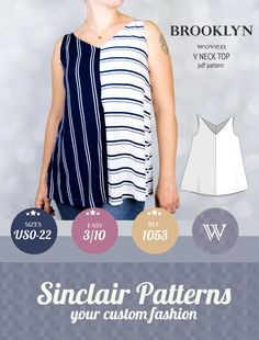 Tank top pattern for woven fabrics / pdf sewing pattern for women with tutorial XS-XXL / beginners Pdf Sewing Patterns, Clothing Patterns, Sewing Ideas, Sewing Crafts, Sewing Projects, Sewing Courses, Make Your Own Clothes, Altered Couture, Sewing For Beginners