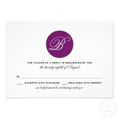 Purple Circle Monogram Modern Wedding RSVP Card  #WEDDING #RSVP