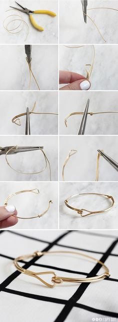 STEPS | Triangle Wire Bracelet | I SPY DIY by Zeno