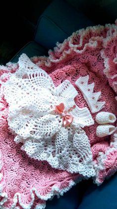 Crochet Pineapple baby dress set