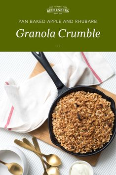 Granola is a breakfast go to in the mornings. Delicious with yoghurt, milk, as a topping or on its own, this recipe for Apple and Rhubarb Granola Crumble is your new favourite.   Click the image to download the recipe from our FREE 100 recipes eBook. Apple Recipes, Lunch Recipes, Vegetarian Tart, Bed Recipe, Breakfast In Bed, Baked Apples, Granola, Mornings, Milk