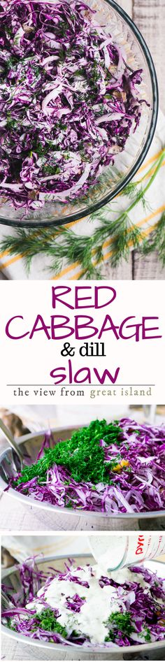 Red Cabbage and Dill Slaw ~ this healthy slaw goes with everything...skip the deli counter and make your own, it costs just pennies per serving! | salad | cabbage | low carb | gluten free | Barbecues | side dish | summer
