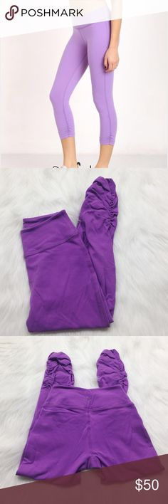 Beyond Yoga Purple Side Gathered Crops Beyond Yoga purple side Gathered crop leggings. Super soft. Excellent pre-owned condition. They are the darker color purple shown in the last 3 photos. Size XS. No modeling/trades. Beyond Yoga Pants Ankle & Cropped