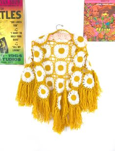 vintage crochet shawl, 1970s mustard yellow fringe poncho, 70s granny square, retro crochet cape, 60s capelet, knit daisy throw OOAK by SpacedOutMama on Etsy