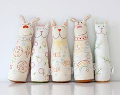 Muñecos de tela bordados de The fox in the attic