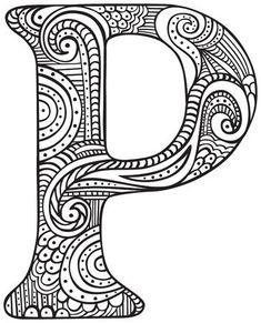Imagens, fotos stock e vetores similares de Hand drawn capital letter P in black - coloring sheet for adults - 699975214 Doodle Art Letters, Doodle Lettering, Creative Lettering, Letter Art, Summer Coloring Pages, Easy Coloring Pages, Colouring Sheets For Adults, Coloring Sheets, Coloring Books