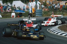 Ronnie Peterson (JPS Lotus-Ford 72E) leading Mark Donohue (Penske-Ford PC1)  Tony Bryce (Embassy Hill-Ford GH1) 1975 Swedish Grand Prix, Anderstorp