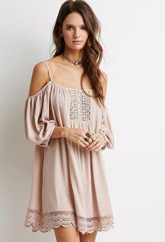 Crochet-Paneled Open-Shoulder Dress