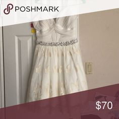 d19bf1ecf4 cream homecoming dress only worn once cream strapless dress with a  bejeweled belt and floral skirt Dresses Strapless