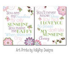 Baby Girl Nursery Wall Decor-Art Prints Girls Room-Pink Blue Flower Butterfly Wall Decor-You are My Sunshine Song-Flower Butterfly Decor- on Etsy, $26.00