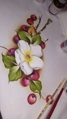 China Painting, Tole Painting, Fabric Painting, One Stroke Painting, Painting For Kids, Fabric Paint Designs, Painted Books, Frame Crafts, Fruit Art