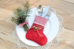 Christmas Silverware Holder, Table Decor, Burlap Christmas Silverware, christmas…