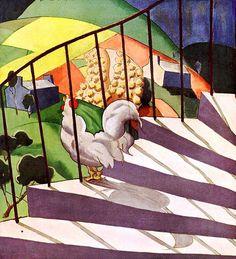 Galo cantando, ilustração de Walter Tomlin, capa da Revista House & Garden, de julho de 1927.  -