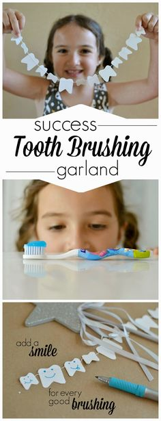 DIY Tooth Brushing Success Garland- get them to brush and make this CUTE reward chart!
