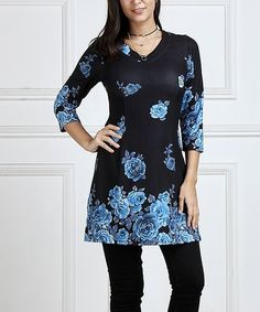Blue Floral V-Neck Tunic - Plus Too #zulily #zulilyfinds