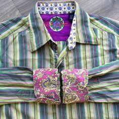 Mens Robert Graham Sz Large Striped Shirt Green Purple Contrasting Flip Cuff    eBay