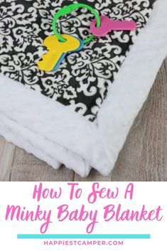 Need a cute gift for a baby shower? We show you hHow To Sew A Minky Baby Blanket! This easy project is customizable to suit your needs. You can make it out of whatever fabric you prefer. Minky is a super soft fabric, which is why I chose it for this project. This easy sewing tutorial takes you step by step through making your own baby blanket. If you have little ones, this is can be a great way to save! Easy Sewing tutorial. Baby Blanket. How To Sew A Minky Baby Blanket Baby Sewing Tutorials, Cute Sewing Projects, Easy Sewing Patterns, Quilting Patterns, Sewing Ideas, Diy Baby Quilting, Baby Quilts, Minky Baby Blanket, Baby Blankets