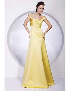 A-line Off-the-shoulder Sweep/ Brush Train Satin Bridesmaid/ Wedding Party/ Evening Dress