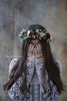 Burgundy blush flower crown bridal flower crown holiday floral headpiece dark red floral crown pink flower headpiece Christmas crown by Wedding Crown Wedding Headband, Flower Crown Wedding, Floral Wedding, Crown Flower, Flower Crowns, Girl With Flower Crown, Red Wedding, Blush Flowers, Bridal Flowers