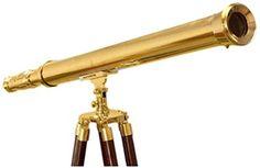 "Handcrafted Nautical Decor Floor Standing Brass Harbor Master Telescope, 60"", Brass"