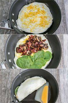 fluffy egg white omelette is loaded with bacon, mushrooms, cheese, and fresh spinach which softens perfectly inside the omelette. Spinach Omelette, Egg White Omelette, Healthy Omelette, Healthy Breakfast Recipes, Healthy Recipes, Diet Recipes, Egg Omelette Recipe, Egg White Frittata, Cheese Omelette