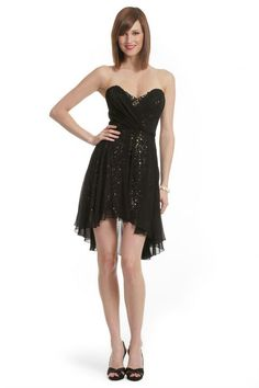 Rent the Runway, Black & Sparkly Gold Cocktail Dress