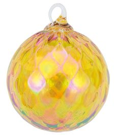 092L Glass Eye Studio Ornament Citrine Diamond Facet (November) - #1 GLASS EYE STUDIO Approved Retail Dealer Crystal River Gems