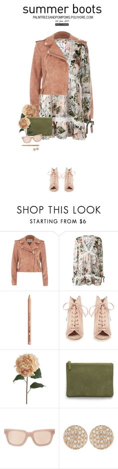 """Walk This Way: Summer Booties"" by palmtreesandpompoms ❤ liked on Polyvore featuring River Island, For Love & Lemons, NYX, Jimmy Choo, Pier 1 Imports, AERIN, Linda Farrow and Dana Rebecca Designs"