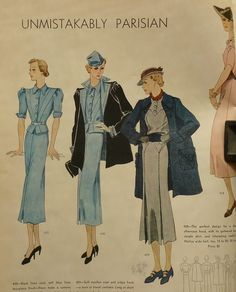 Vogue Pattern Book, June-July 1936 featuring Vogue 430, 429 and 428