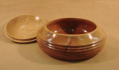 "Lathe turned lidded dish made of willow and oak.  Size is 6 1/2"" x 3""."