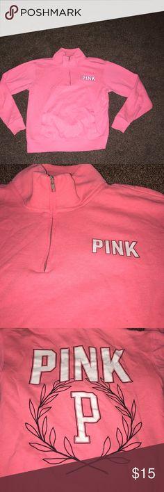 PINK VS half zip hoodie. Wore a handful of times PINK Victoria's Secret Tops Sweatshirts & Hoodies