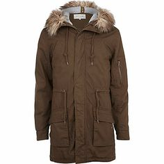 878d20b521b Khaki green faux fur trim parka jacket  riverisland  rimenswear River Island  Fashion, Sustainable