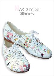 whimsical girlie sketches printed lace-up shoes  CODE: NAKSH5-1060  Price: SG $64.35 (US $51.90)