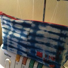 The awesome Basquiat-inspired, Shibori stash bag Sown Brooklyn made to carry around her knitting