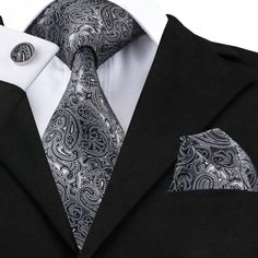 Shop for Men Classic Black Grey Tie Necktie with Cufflinks and Pocket Square Tie Set - Grey Paisley - Discover the newest styles Men's Tie Sets up to off. Novelty Ties, Mens Silk Ties, Men Ties, Paisley Tie, Paisley Print, Grey Tie, Cufflink Set, Tie And Pocket Square, Pocket Squares