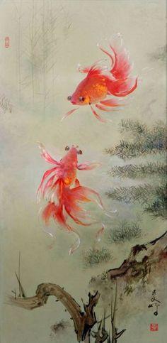 19 Gambar Lukisan Ikan Mas Koki Terbaik Ikan Mas Binatang Dan Seni
