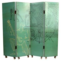 Piero Fornasetti; Lacquered and Lithographed Wood Folding Screen, 1950s.