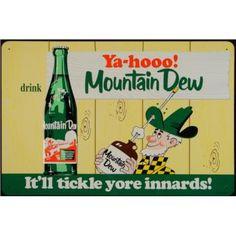 Vintage Advertising Signs | MEB : Mountain Dew Soda Tin Repro Vintage Advertising Sign