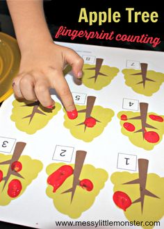 A simple apple tree counting activity for toddlers and pre. Counting Activities Eyfs, Autumn Eyfs Activities, Maths Eyfs, Nursery Activities, Apple Activities, Math Activities For Kids, Montessori, Math Crafts, Preschool Crafts