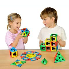 Magnetic Polydron Class Set - Magnetic Polydron allows children to explore the world of shape, space and magnetism all in one exercise. Triangles and squares are coloured in red, yellow, blue and green on one side and black on the reverse. This simple colour coding demonstrates polarity.