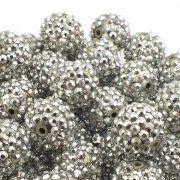 18mm Resin Rhinestone Beads - Silver