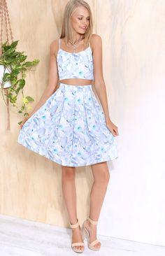 Diaz Two Piece Set Blue Floral | Beginning Boutique