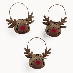"Reindeer Bells.- these r for sale but can easily be made yourself!  Saw the brown bells at Dollar Tree today, and wondered, ""why would anyone want brown bells?""  Now I know!"