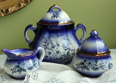 Staffordshire Mayfayre Pottery. Creamer, Jam and Sugar Serving Dishes. Cobalt Blue and Gold Pottery Dish Set with Floral Decor.